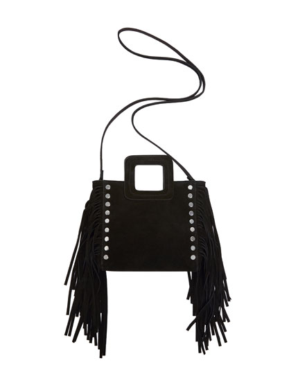 Leather mini crossbody bag with fringing
