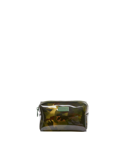 Camouflage vinyl toiletry bag