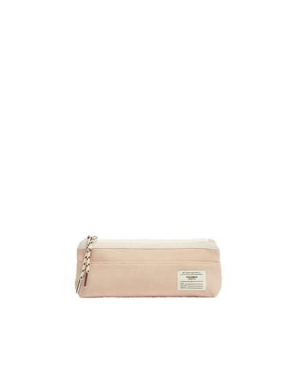 Pink canvas pencil case