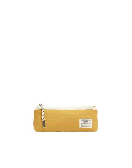 Mustard yellow canvas pencil case
