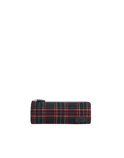 Check print pencil case