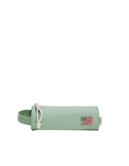 Fabric pencil case with flag