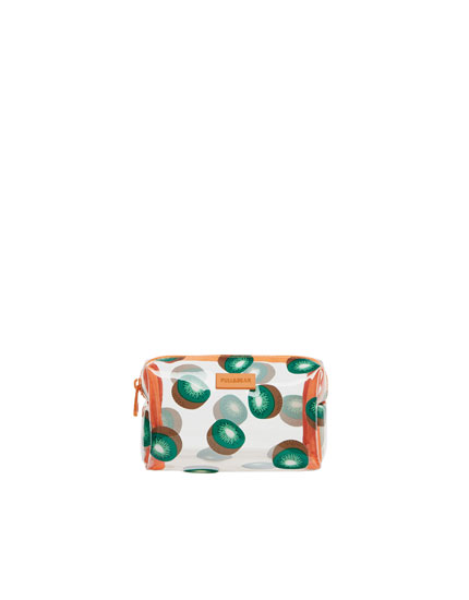 Vinyl kiwi print toiletry bag