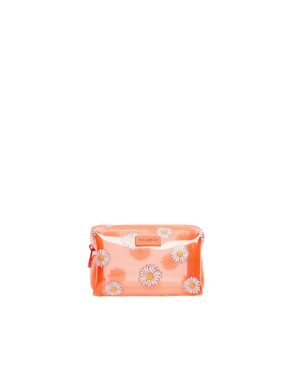 Vinyl daisy print toiletry bag