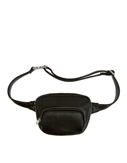Textured black belt bag