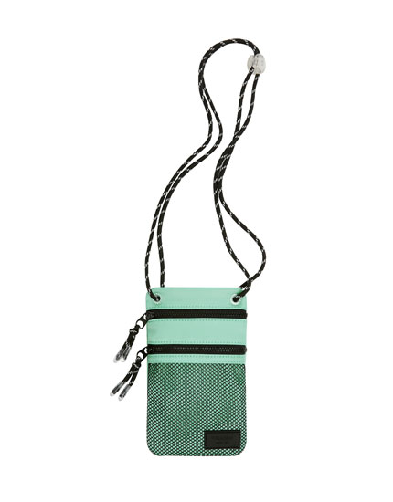 Green crossbody bag with mesh pocket