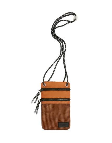 Brown crossbody bag with mesh pocket