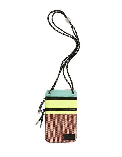 Multicoloured crossbody bag with mesh pocket