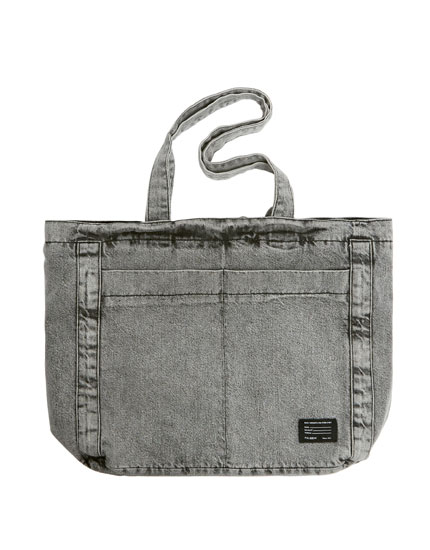 Faded denim tote bag