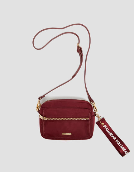 Stretchy maroon mini crossbody bag