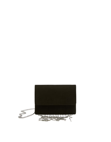 Black crossbody bag with fringing
