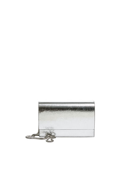 Silver laminated crossbody bag