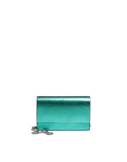Green laminated crossbody bag