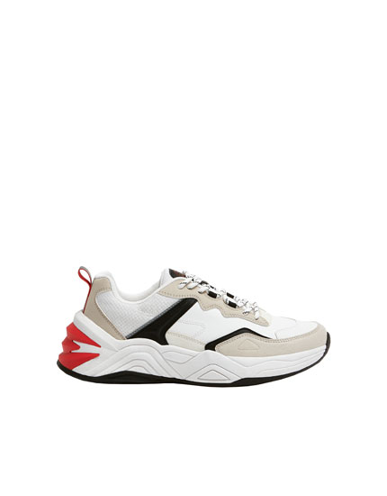 Chunky trainers with heel piece detail