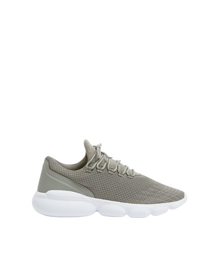 Grey bubble textured trainers