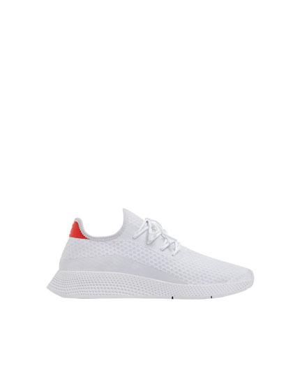 White mesh trainers