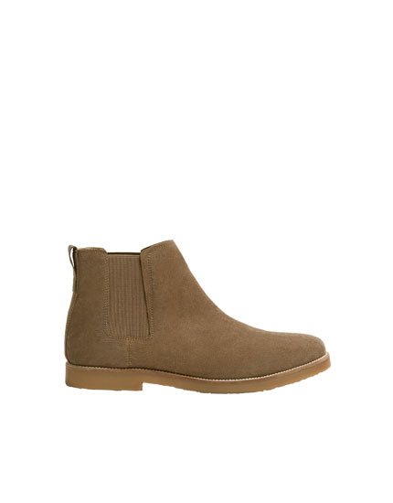 Beige split suede ankle boots with gores
