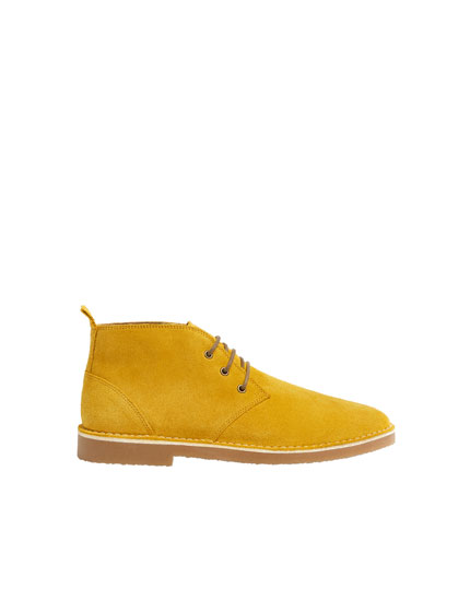 Mustard yellow split suede ankle boots