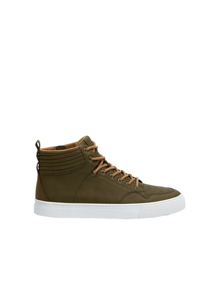 Green urban high-top trainers