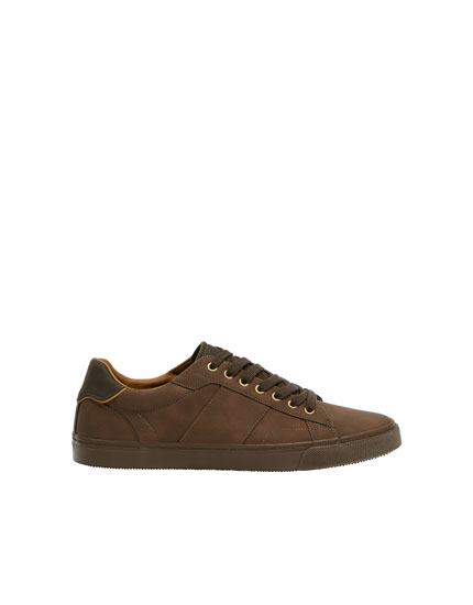 Brown trainers with heel detail
