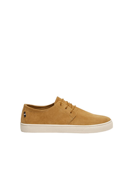 Mustard smart leather trainers