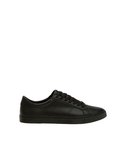Basic black perforated trainers