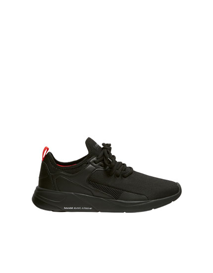 Black fabric trainers