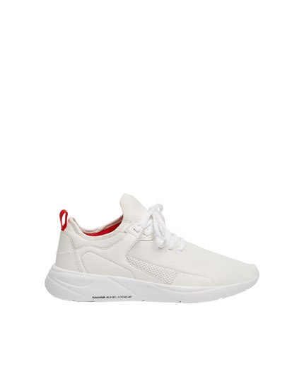 White fabric trainers