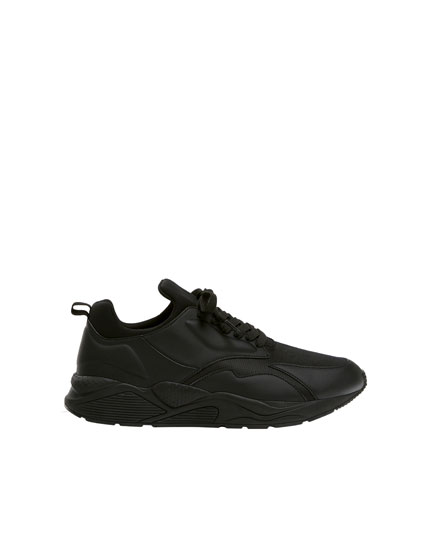 Basic black monochrome trainers