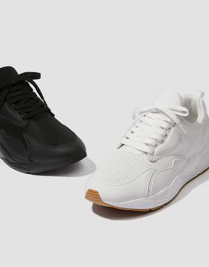 Basic white monochrome trainers