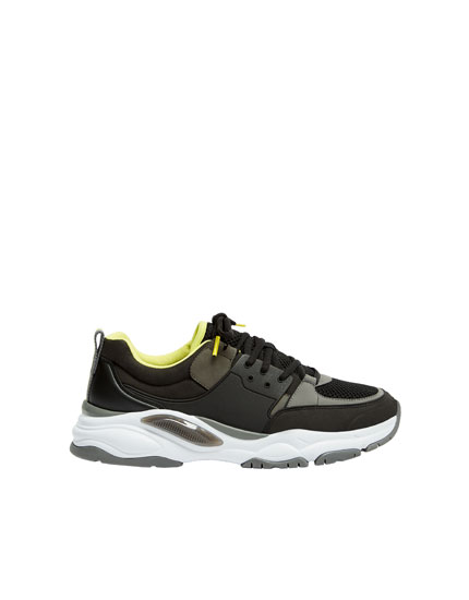 Chunky sole trainers with black sections