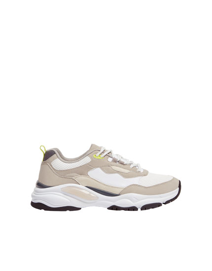 Chunky sole trainers with beige sections