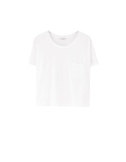 T-shirt cropped poche