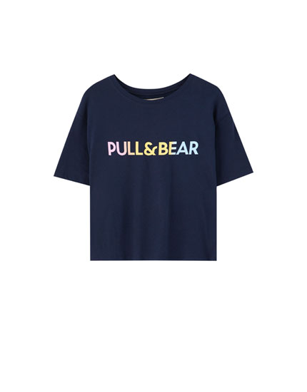 T-shirt with multicoloured logo