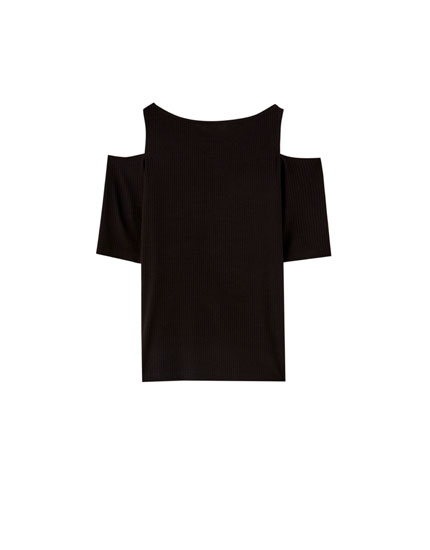 Ribbed T-shirt with open shoulders
