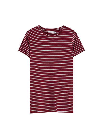 Basic striped short sleeve T-shirt