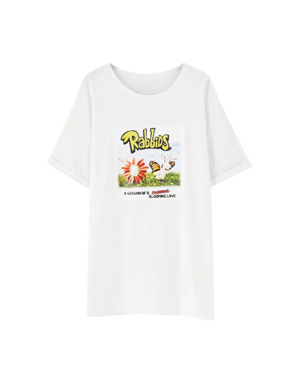 White Raving Rabbids T-shirt with characters
