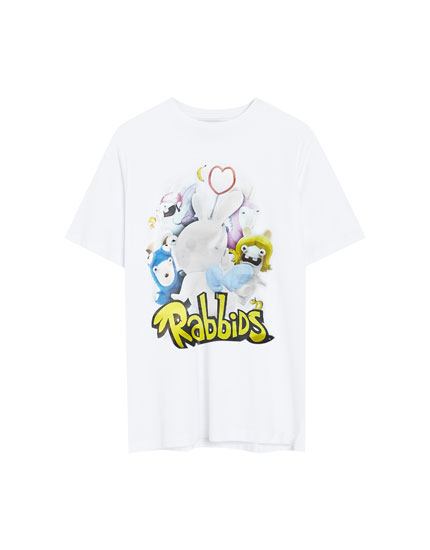 White Raving Rabbids T-shirt with character print