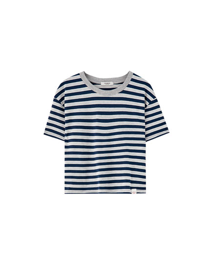 Grey striped T-shirt