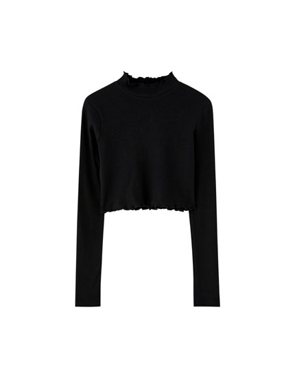 Pull&Bear by Rosalía black long sleeve T-shirt