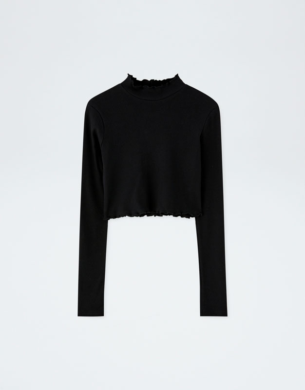 T Shirt Noir Manches Longues Pull&Bear By Rosalía by Pull & Bear
