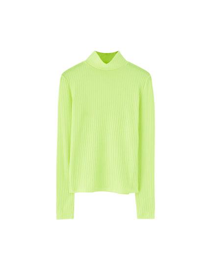 Camiseta canalé amarillo flúor
