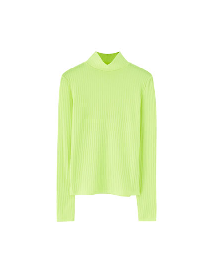 Neon yellow ribbed T-shirt