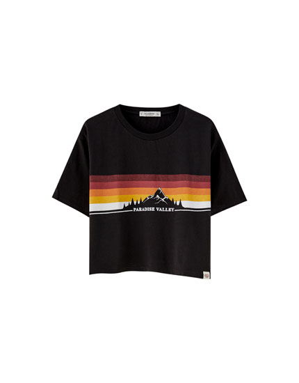 Mountain and rainbow print T-shirt