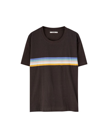 Short sleeve T-shirt with stripes across the chest
