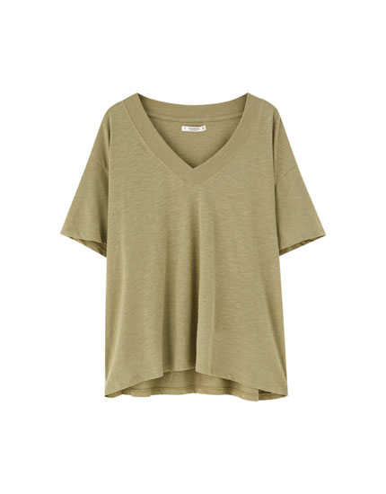 T-shirt basic col en V