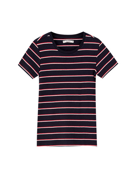 Ribbed and striped short sleeve T-shirt
