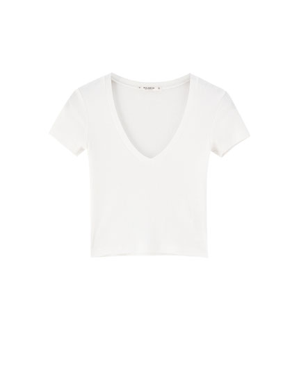 Ribbed V-neck T-shirt