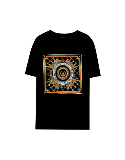 Black T-shirt with handkerchief design