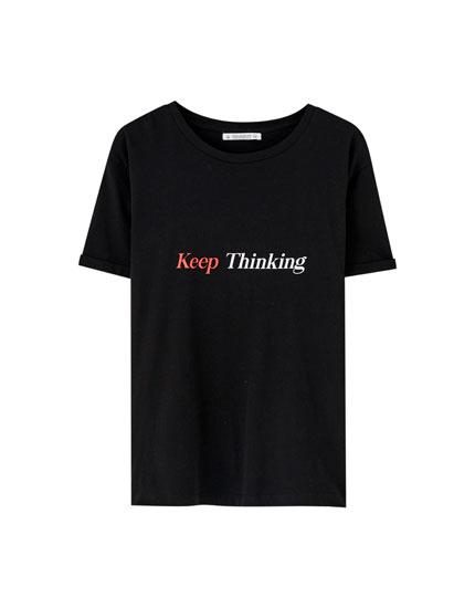 Two-tone slogan T-shirt